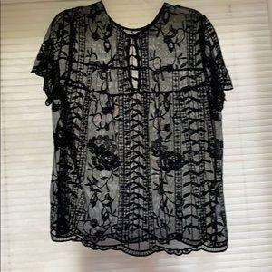 Tops - Medina black lace see thru top xl $14